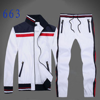 Wholesale White Sweatshirt Men - Autumn men's full zip polo tracksuit men sport suit white cheap men sweatshirt and pant suit hoodie and pant set sweatsuit men