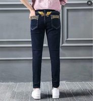 Wholesale Jean Hot Pant Women - Womens Robins Jeans Fashion Hot Brand Designer Robin Denim Pants Female Lady Jean Elastic Skinny Slim Eagle Wings Embroidery