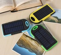 Wholesale Solar Charger Dhl - 5000mAh Solar Charger and Battery Solar Panel portable for Cell phone Laptop Camera MP4 With Hook Flashlight Waterproof DHL Free Shipping