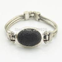 Wholesale Zodiac Bangle Bracelet - B1222-1 Natural Lava Rock Volcano Stone Bracelet 1PC Vintage Look Volcano for Cuff bracelet bangle nice gift for women