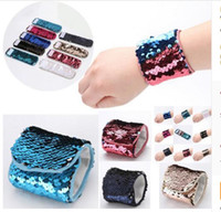 Wholesale Bracelet Kids Boys - Kids Girls Gifts Wristband Sequin Reversible Bracelets For Girls Boys Wrist Strap Jewelry Christmas Gifts 14 Styles DHL Free Shipping