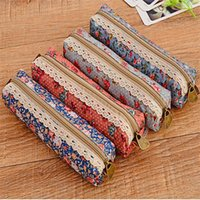 Wholesale Pencil Case Fabric Floral - Zipper Pencils Cases Fashion Retro Flower Floral Lace Pencil Bags For Student Stationery Gift Multi Colors 1 45sh C