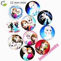 Wholesale Snap Necklace Clasp Plastic - New arrival children mini snap button 12 mm Anna and ELSA princess Resin glass snap button for bracelet or necklace