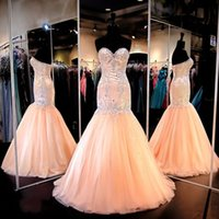 Wholesale Cheap Peach Mermaid Dresses - 2016 Prom Dresses Mermaid Evening Gowns Evening Wear Sweetheart Beaded Appliques Real Pictures Peach Wedding Senior Formal Gowns Cheap