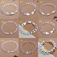 Wholesale Bracelet Boys - Promotion! Multi Styles Of Fashion Bracelet Men's\Boys' 925 Sterling Silver Jewelry Curb\Figaro Chains 9pcs lot
