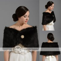 Wholesale Half Pearl Buttons - IN STOCK BLACK Faux Fur Pearl Shrug Cape 99*30cm Stole Wrap Shawl For Wedding Bridal Prom Evening 17009 Bolero 2015 Free Shipping