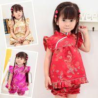 mavi çiçek şortu toptan satış-Çiçek çocuk Setleri bebek kız elbise kıyafetler suits Yeni Yıl Çin elbiseler kısa pantolon Qipao cheongsam ücretsiz nakliye tops