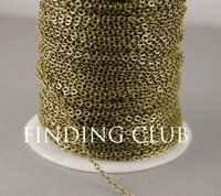 cadena de cable plano al por mayor-Nueva fábrica 20 metros Cadena de cable plano de plata chapada en oro bronce de 2 mm Hallazgos a granel C02