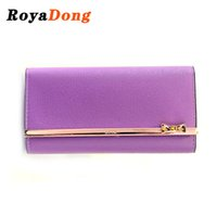 Wholesale Sequined Wallet - RoyaDong Women Wallets Sequined Bow Long Purse Fashion Pu Leather Womens Wallets And Purses Holders Bag New2016 Famous Brand