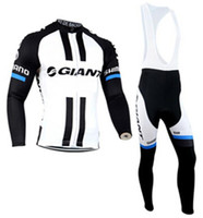 Wholesale Giant Winter Thermal - New Ropa Ciclismo Mountain Bike MTB Winter Thermal Fleece Long Sleeve Jersey Bib Pants Tour de France GIANT Jersey Cycling 2015