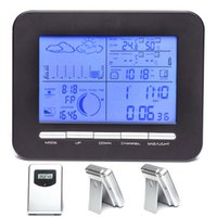 Wholesale Digital Wireless Weather - Big LCD Home Digital Weather Station Clock With Dual-Alarms,Barometer Thermometer Hygrometer+3 Wireless Sensors,Temperature Gauge&Alert
