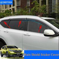 Wholesale honda crv car cover - Car Styling Awnings Shelters 4pcs lot Window Visors For Honda CRV CR-V 5th 2017 2018 Sun Rain Shield window trim Stickers Covers