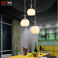 Wholesale Win Switch - Modern 3head white glass win led pendant light dining room lighting chandeliers bar lamp indoor lightings fixtures minimalist