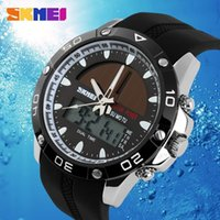 Wholesale Display Solar Led - 2015 New SKMEI Brand Solar powered Watch LED Digital Quartz Men Sports Watches dual display Outdoor Military Wristwatches 5ATM Waterproof
