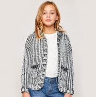 Wholesale Stripe Cardigan Kids - Kids stripe knit cardigan big girls cute bear ears hooded coat girls double pocket long sleeve outwear kids cartoon clothing fit 7-14T R1175