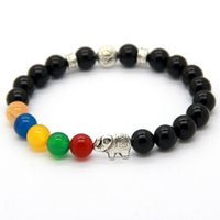 Nouveaux produits à la main 8MM Black Agate Beads Lotus avec Elephant Yoga Meditation Bracelets, Good Luck Jewelry Party Gift