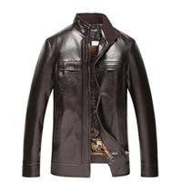 Wholesale Leather Jacket Men Wholesale - Wholesale- T china cheap wholesale size L-4XL 2017 Autumn winter new Business gentleman men fashion casual stand collar pu leather jacket