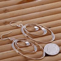 Wholesale European Earrings Silver 925 - New Style 925 Silver women' earrings 3 Hoops Charms Dangle Hanging Earrings fashion european style earrings