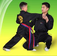 36aed5b4acbc4 Arts martiaux porter des vêtements uniforme de taekwondo ensemble de  vêtements 100% coton à manches longues entraîneur noir hommes femmes  unisexe enfants ...