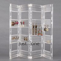 Wholesale Stands Jars For Jewelry - 320 Holes 4 Arches Clear Plastic Folded Earrings Ear Studs Display Stand Holder for jewelry