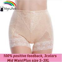 Wholesale Magic Panties - Summer New Mesh Mid Waist Shapewear Sexy Lace Plus size Magic Body shaper Waist Shaper Tummy Control Panties Firm panty Shapers