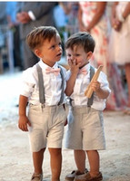 Wholesale Ivory Tuxedo For Boys - 2016 Fall Baby Boys Wedding With Clothes With white Shirt + Pants +Bow Kids Tuxedo Suits Cute Formal Clothing Boys Suit for Wedding Event