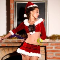 Wholesale Sexy Santa Cheap Costumes - 2014 New Cosply Women Stretch Velvet Lingerie Costume Sexy Cheap Christmas Costume Santa dress Free Shipping Ennanna X1186