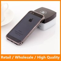 Wholesale Diamond Rhinestone Iphone5 Case - New Arrival Fashional 3D Luxury Rhinestone Bling Diamond Bumper Case Crystal Cover Free Screen Film For iPhone5 5S 5G