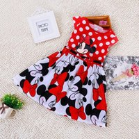 Wholesale Cute Round Collar Dress - Kids Girls Dress Cartoon Minnie Layered Dress Cute Lovely Casual Children Dress Polk Dot Round Collar and Waist Slim Bubble Skirt