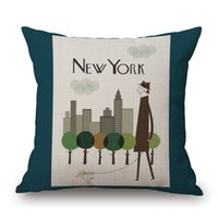 Wholesale Gift Case Paris - London Paris New York sofa cushion covers Pillow Cases pillow covers Bedroom decoration gift car office decor free shipping