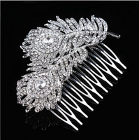 Wholesale rhinestone feather hair comb wedding for sale - Group buy 3 quot Extra Large Vintage Look Rhodium Silver Tone Double Feather Bridal Hair Comb with Rhinestone Crystals