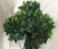 Wholesale Silk Plants Trees Wholesale - 60pcs 55cm Length Green Tree Leaf Leaves Branch Silk Artificial For Wedding Home Office Decoration