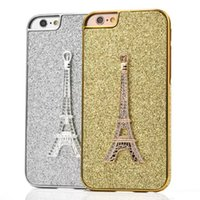 Wholesale Skin For Iphone Paris - Diamond Glitter Electroplate Hard Phone Case Eiffel Tower Paris Metal Gold bling Chrome For Iphone 6S 6 plus 4.7 5.5 I6S skin cover luxury