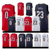 17/18 New Men's NEW ORLEANS # 0 DeMarcus Cousins ​​23 Anthony Davis Home Rosso Bianco Blu cuciture