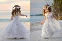 Wholesale Champagne Beach Formal Wear - Cheap White Flower Girls' Dresses For Wedding Square Neck Applique Beads Kids Formal Wear Sleeveless Beach Girl's Pageant Gowns