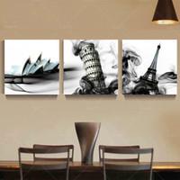 große schwarze weiße gemälde großhandel-3 Panel Abstract Bulding Stadtmalerei Cuadros Decoracion Stadtbilder Schwarzweiß Leinwandbilder Unframe Große Wandkunst