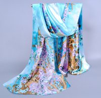 Wholesale Paint Scarf - Hot sell ! Sky Blue Fashion Women's Satin Plum flower Oil Painting Long Wrap Shawl Beach Silk Scarf 160 X50cm za13