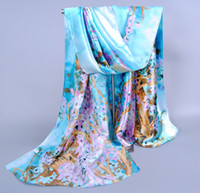 ¡Venta caliente! Sky Blue Fashion Satin Plum flower Oil Painting Long Wrap Shaw Beach Bufanda de seda 160 X50cm za13