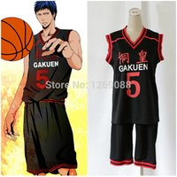 Wholesale kuroko cosplay jersey - Anime Kuroko no Basuke Basket GAKUEN No. 5 Aomine Daiki Basketball Jersey Cosplay Costume Sports Wear Uniform emboitement