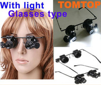 Wholesale Magnifier Eye Glasses Magnifying Lens - Retail 20X Magnifier Eye Glasses Jeweler Loupe Lens LED Light Watch Repair Tools Magnifying With Battery 9892A Free Shipping