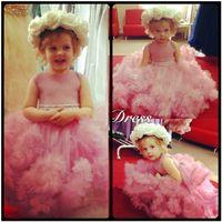 Wholesale Elegant Gowns For Little Girls - Cute 2016 Pink Tulle Ball Gown Flower Girl Dresses For Weddings Elegant Little Kids Pageant Dresses