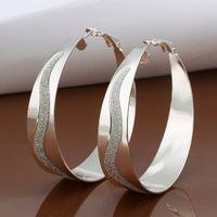 Wholesale Opal Earings - Circles Hoop earings 925 Solid silver Accessary e463 Fashion New Jewelry Brincos de Prata