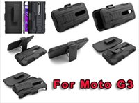 Wholesale Ballistic Holster - 360 Degree Rotating For Motorola Moto G3 G 3rd Ballistic Combo 3 in 1 Stand Clip Belt Holster Hard PC + Silicone gel case Shockproof luxury