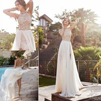 Wholesale chiffon halter wedding dress slit online - 2017 Summer Beach Bohemian Wedding Dresses for Women A line Chiffon Side Slit Lace Halter Backless Court Train Bridal Gowns