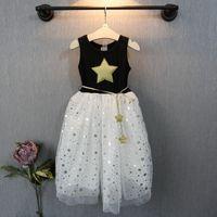 Wholesale Tutu Stars - Summer New Girl Dress Five-pointed star pattern sleeveless lace Gauze Princess TuTU Dress kids clothing C001