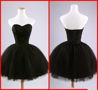 vestido de formatura venda por atacado-Real imagem preto curto cocktail vestidos querida frisado lace tule tie up vestido de baile mini vestidos de festa vestidos de baile custom made c50