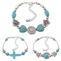 Wholesale Turquoise Butterfly Bangle Bracelet - Wholesale-Women's Boho Style Butterfly Turquoise Beads Handmade Bangle Cuff Bracelet
