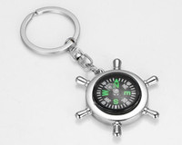Wholesale Nautical Bags Wholesale - Zinc alloy Nautical helm compass keychain Fashion Key Chains Charms Keychains Metal doll gift with OPP bag Free Shipping