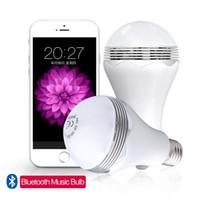 лучшие b22 светодиодные лампы оптовых-Светодиодные лампы Bluetooth Music 2 в 1 Светодиодная лампа Лампа Беспроводной динамик Bluetooth E27 База музыкального проигрывателя Sound Sound Lighting