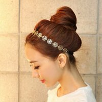 Wholesale flower metal headband resale online - 2015 hot Womens Fashion Metal Chain Jewelry Hollow Rose Flower Elastic Hair Band Headband Jewelry Headwear